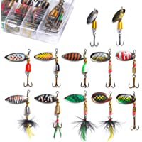 Fish Tackle Set, one Box HIKO23 Fishing Lures Hard Metal Wobble Fish Lure Spoon with Feather Topwater Bait Hook Tackle