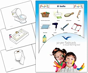 Tarjetas de vocabulario - El baño - Spanish Bathroom and Body Care Flashcards for Kids,