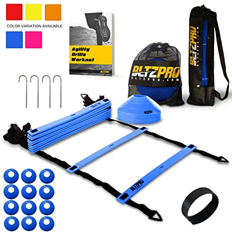 e0026e7456e Bltzpro Agility Ladder Soccer Cones Kit- A Speed Training Equipment for  Football and Team Sports