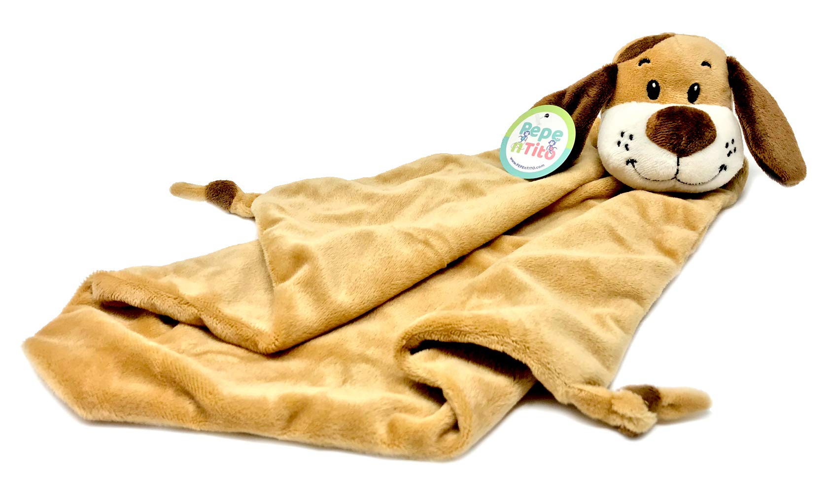 Baby Security Blanket by Pepe n Tito - 18'' Tall Soft Fleece Baby Blanket for Boys & Girls – Baby Soothing Blanket with Plush Stuffed Animal Puppy - Dog