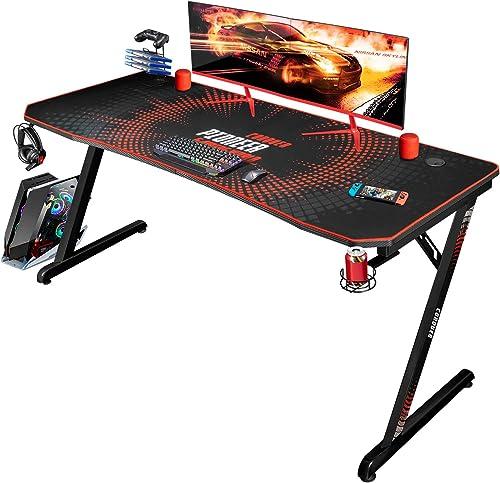 Jummico Gaming Desk 55 inch Computer Desk Z Shaped PC Table Office Gamer Desk
