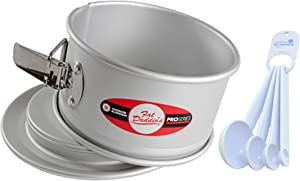 Fat Daddio's Springform Pan Anodized Aluminum 6x3 inch Bundle with Lumintrail Measuring Spoons