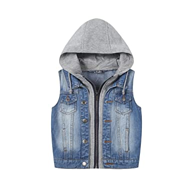 discount for sale 2019 authentic double coupon SUSIELADY Kids Hoodie Button Jean Jacket Baby Boys Hooded Denim Vest Tops  Tank Waistcoat Zip Printed Hood 3-10 Years