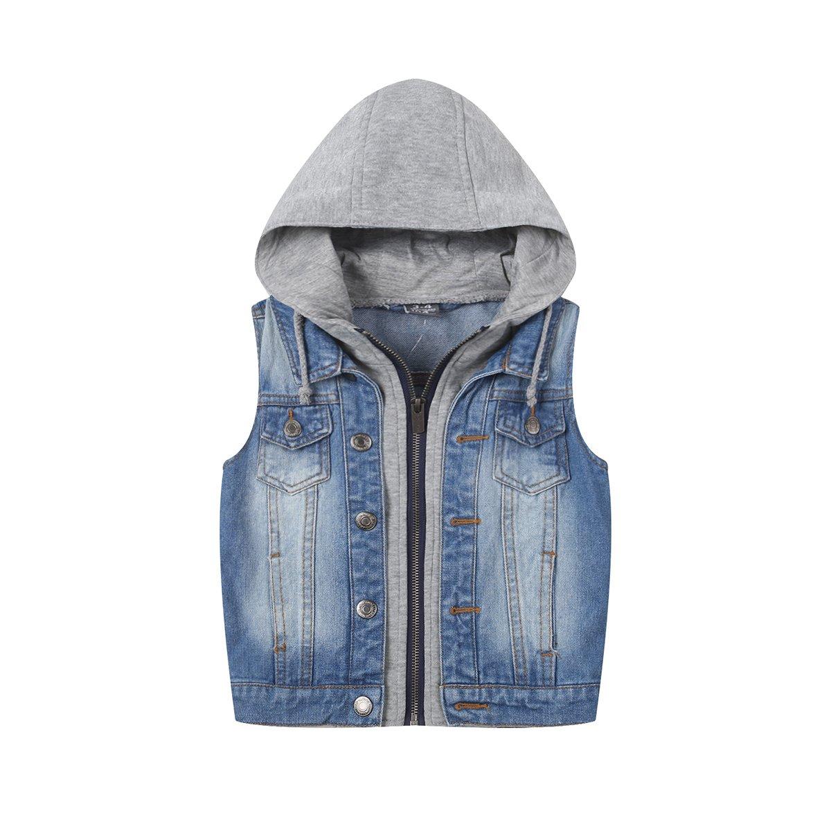 SUSIELADY Kids Fashion Hoodie Button Jean Jacket Baby Boys Hooded Denim Vest Tops Tank Waistcoat Zip Printed Hood 7T/8T
