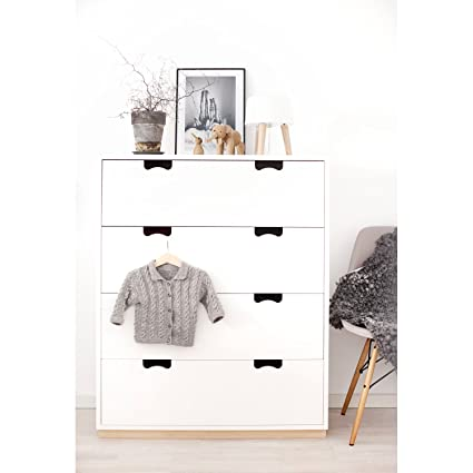Aprodz Mango Wood Storage Cabinet Bow Chest of 4 Drawers Furniture for Living Room   White