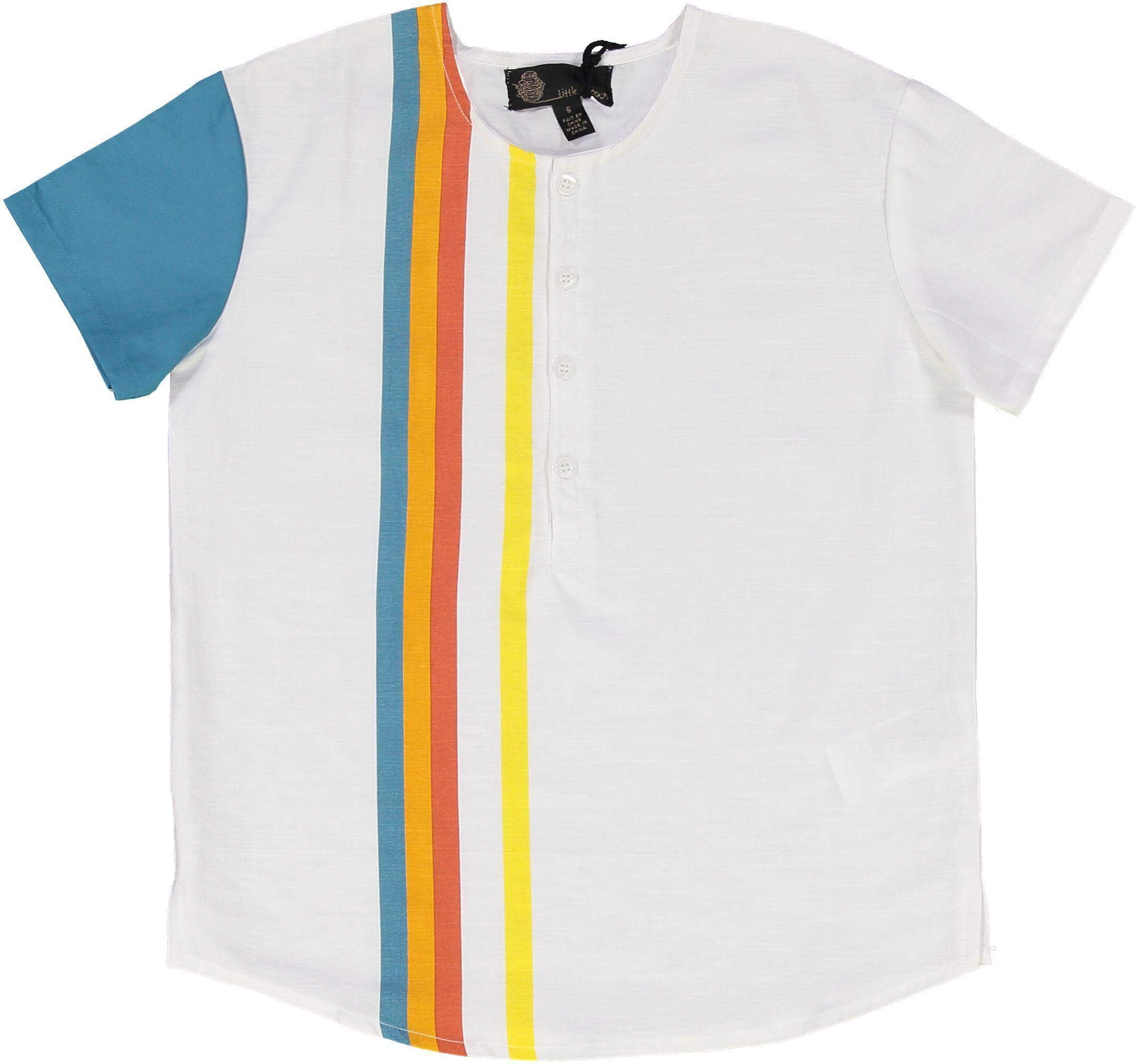 Little Cocoon Boys Short Sleeve Dress Shirt with No Collar - TD1910 - Rainbow, 18 Months