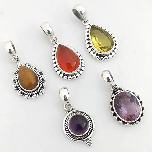 41796eb98f Amazon.com: 5 Pcs Natural Mix Gemstones 925 Sterling Silver Pendant ...