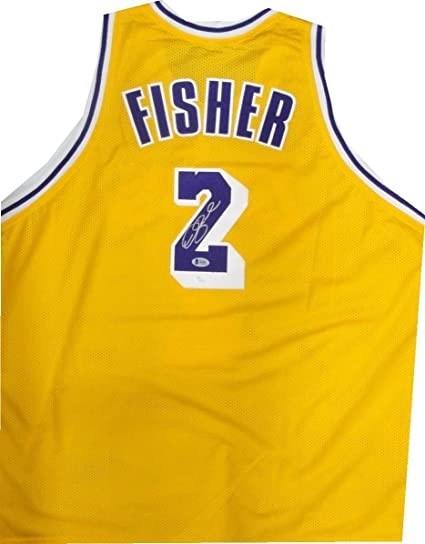 141bf80ce59 Derek Fisher Hand Signed Autographed Gold Jersey Los Angeles Lakers Silver  JSA
