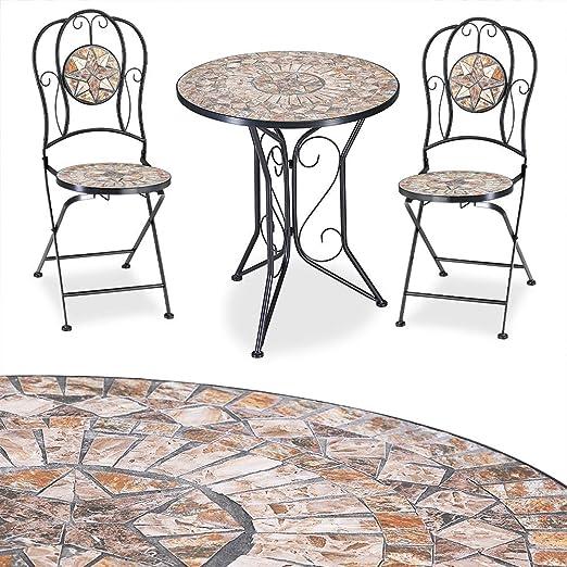Deuba Conjunto de muebles de jardín Mosaico BARCELONA set de mesa y sillas plegables terraza patio metal diseño moderno: Amazon.es: Jardín