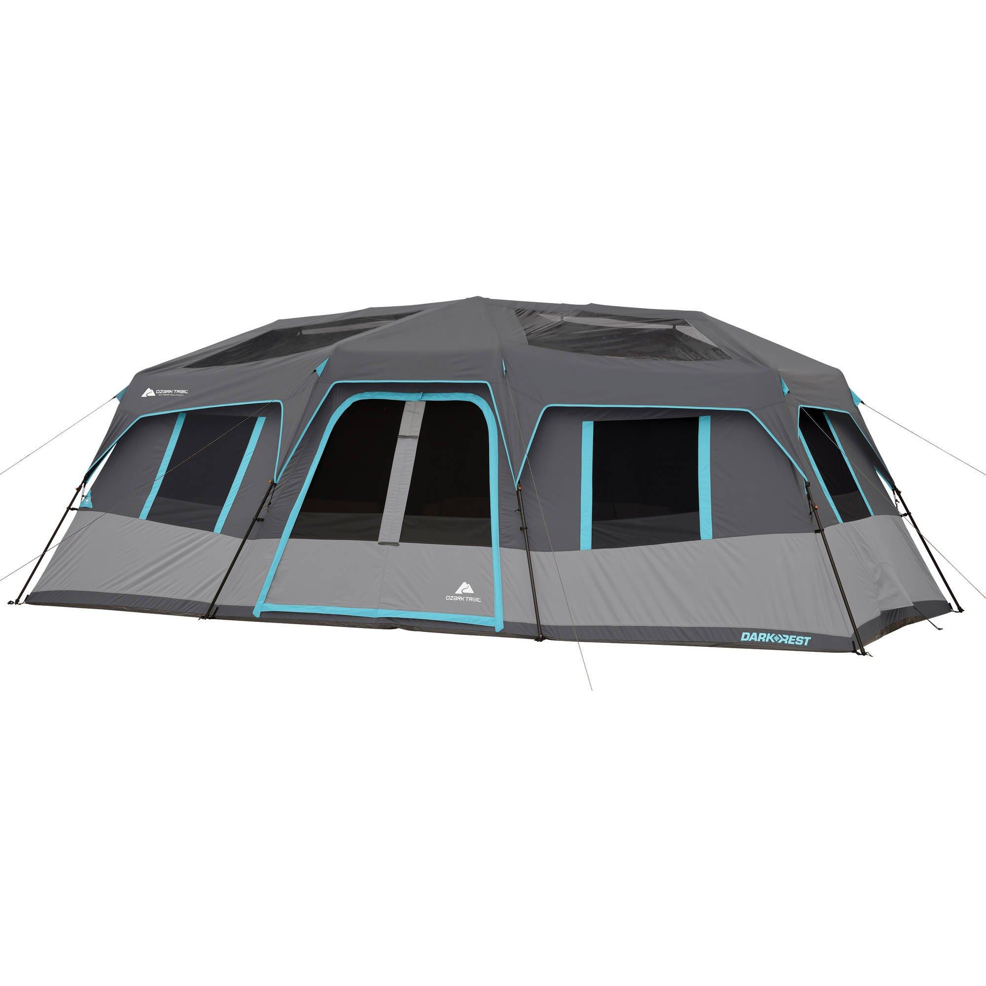 Ozark Trail 20' x 10' Dark Rest Instant Cabin Tent, Sleeps 12