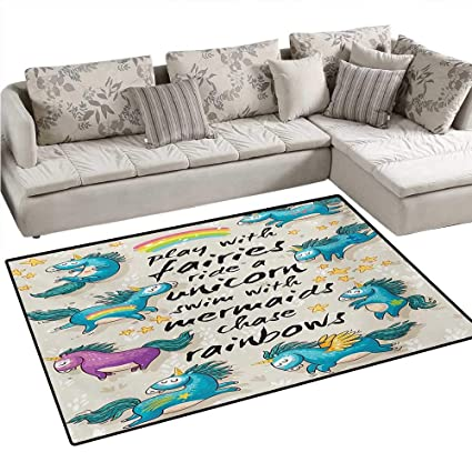 Amazon.com: Cartoon Anti-Static Area Rugs Mythical Unicorns ...