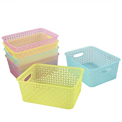 Cand Plastic Storage Baskets/Bins For Closets, Drawers, 6 Pack