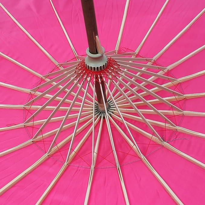 Amazon.com: eDealMax bambú japonesa China de Estilo Tradicional Baile manualmente Parasol Umbrella 78cm Dia Fucsia: Electronics