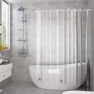 AooHome 72x75 Inches Shower Curtain, Clear Eva Heavyweight Shower Curtain Liner with Hooks, Bottom Magnets, Waterproof, Rust Proof Grommets