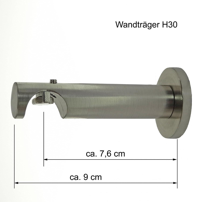 Innenlauf Innenlauf Innenlauf Gardinenstange Edelstahl Look 20mm Wandträger 1-läufig , Länge wählbar H30 E39, Länge 400 cm 1aa31e