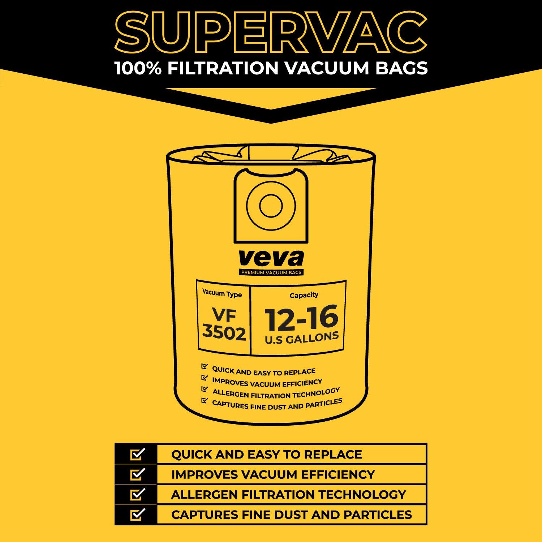 VEVA 10 Pack Premium SuperVac Vacuum Bags VF3502 Compatible with 12-16 Gallon Ridgid Wet//Dry Vacuums