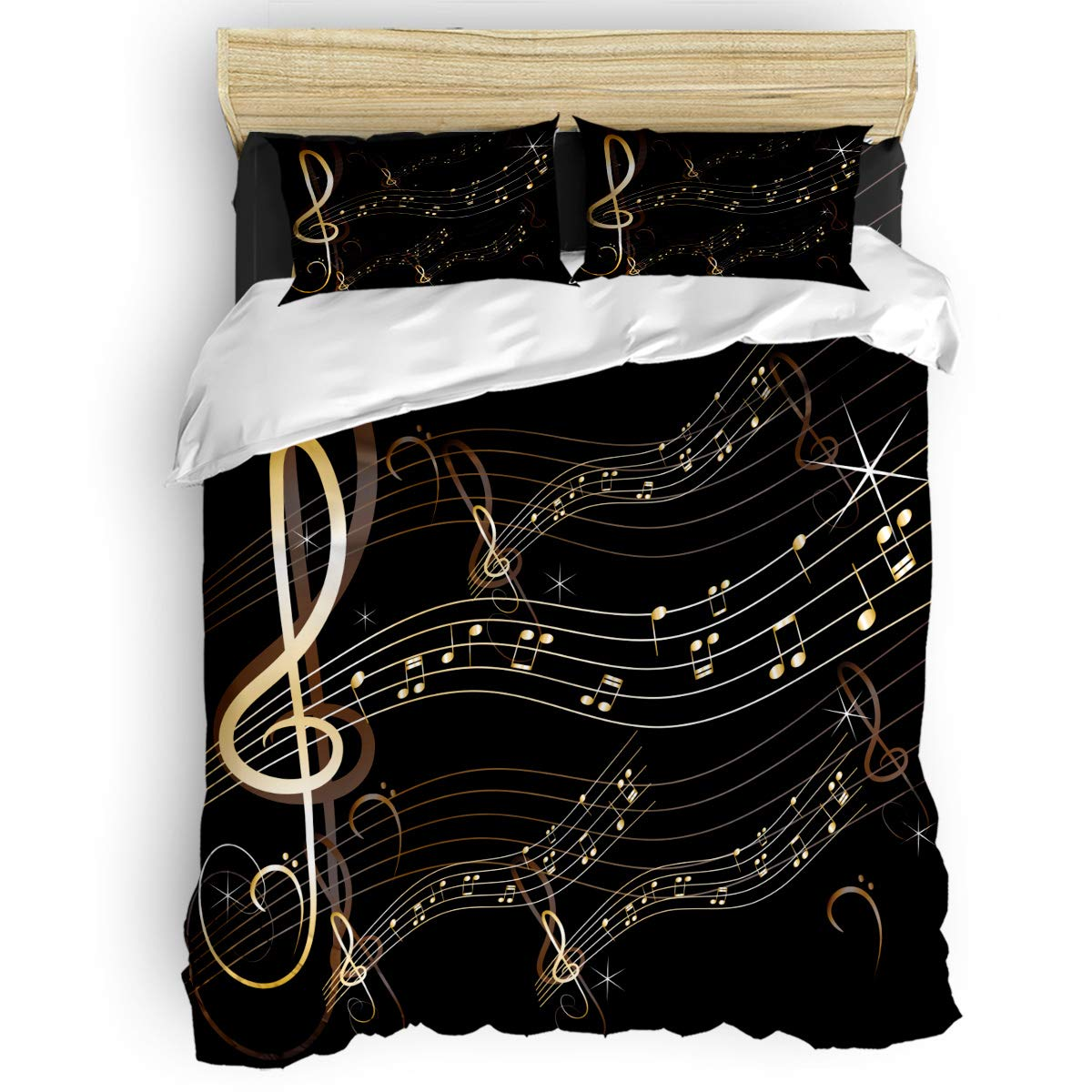 4 Piece Bedding Sets Music Note Duvet Cover Set One Side Printed Super Soft Twill Plush Comforter Set Full Size