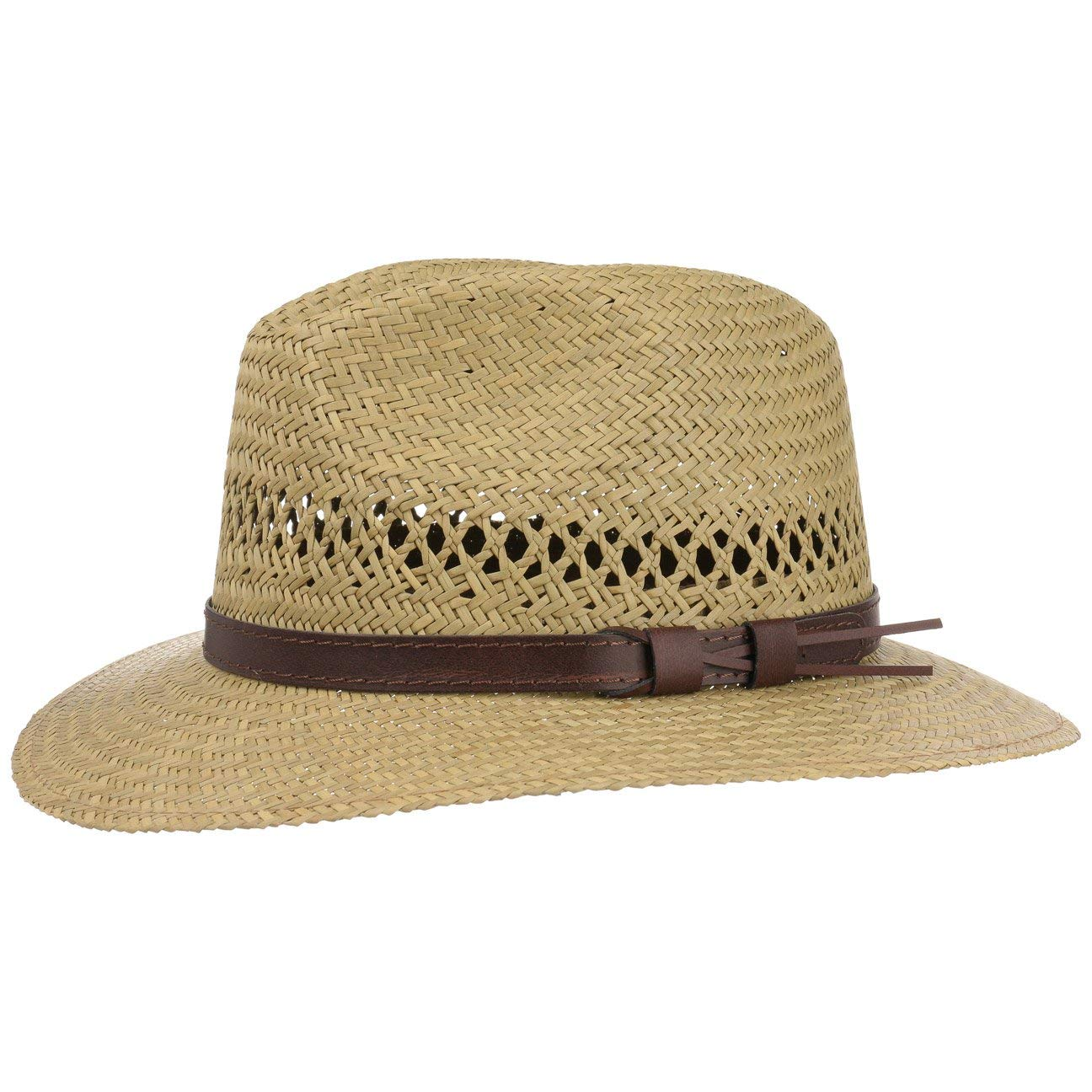 Lipodo Traveller Straw Hat for Women and Men | Summer Hat Made of 100% Straw | Sun Hat with a Brown Leather Band | Summer Hat Available in Sizes S-XL | Made in Italy