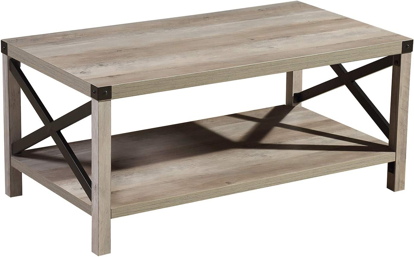 lipo rustic coffee table modern farmhouse furniture metal wood rectangle end tables for living room sofa side table with ottoman storage shelf grey