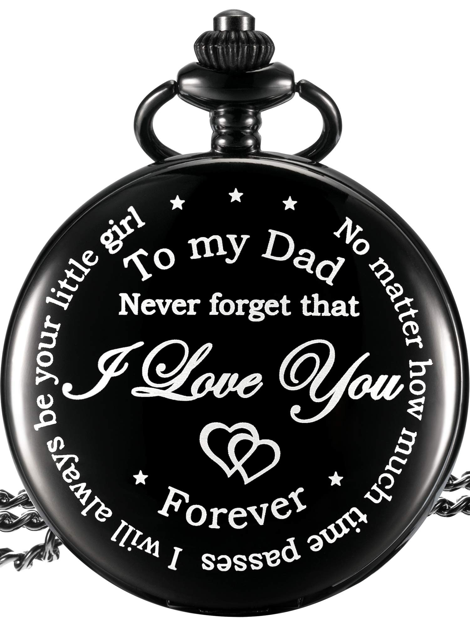 Dad Gift from Daughter to Father Engraved Pocket Watch - No Matter How Much Time Passes, I Will Always Be Your Little Girl (Black)