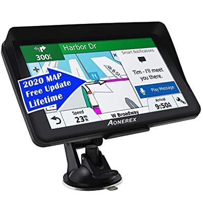 Car GPS,(7Inch) with 2020 North America Edition+Free Lifetime Updates, GPS Navigation for Car Truck Motorhome, Features Postcodes, Lane Guidance & POI: GPS & Navigation