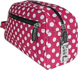 Vaultz Locking Nylon Travel Kit, 10 x 5.75 x 5 Inches, Pink/White Polka Dots (VZ03512)