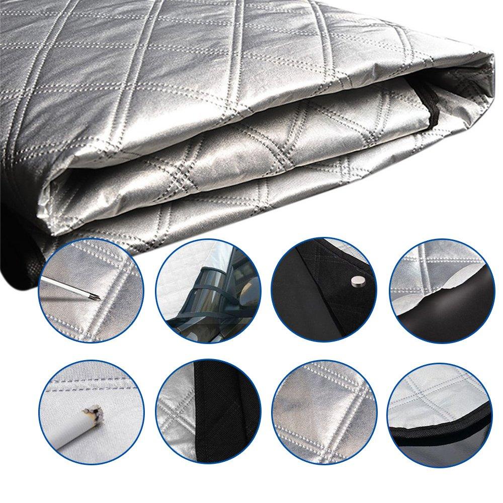 bordes redondeados de algod/ón para protecci/ón de la mayor/ía de veh/&i Cubierta antihielo para parabrisas de coche Cubierta para parabrisas para nieve parasol de aluminio para coche con solapas y etiquetas el/ásticas de Exqline