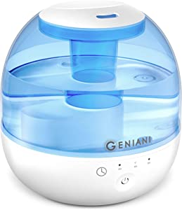 GENIANI Ultrasonic Cool Mist Humidifier - 2L Water Tank Humidifiers for Bedroom/Living Room/Baby with Night Light - Auto Shut Off and Filter-Free - 2 Year Warranty (2nd Generation)