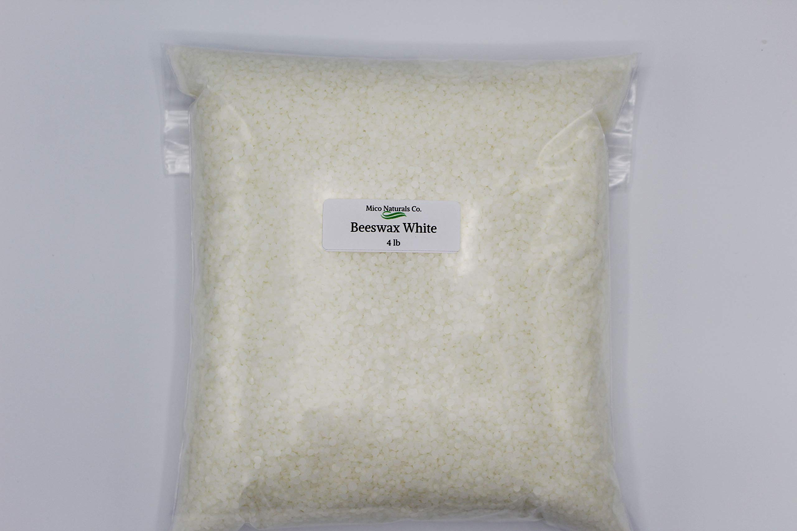 Beeswax White Pastilles Organic 100% Pure 4 Lb/64 oz by Mico Naturals