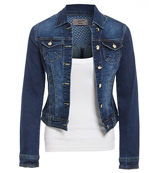 e57ea3f0107 SS7 Womens Indigo Denim Jacket Ladies Stretch Jean Jackets Size 8 10 12 14  Dark Blue  Amazon.co.uk  Clothing