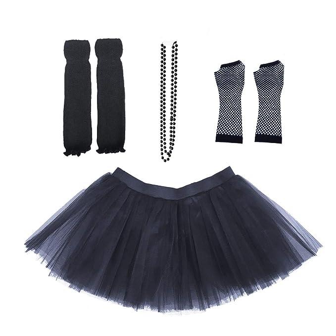 f34782981e Dreamdanceworks 80s Fancy Costume Set - TUTU & LEG WARMERS & FISHNET GLOVES  & BEADS (