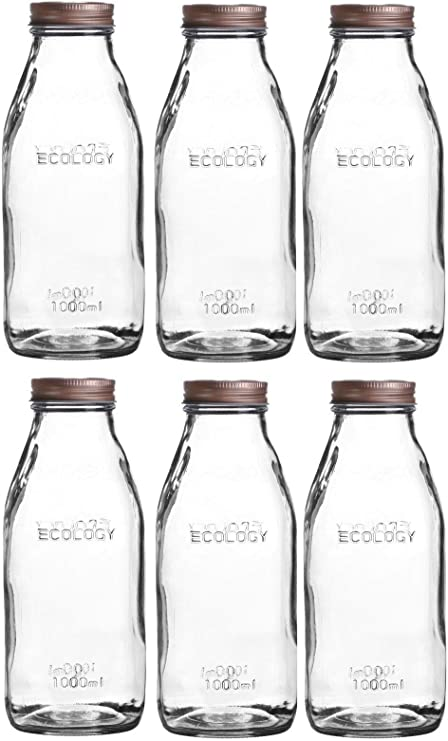 Set of 6 Glass Milk Bottles with Lid 1litre Vintage Glass Milk Bottle Copper Lid