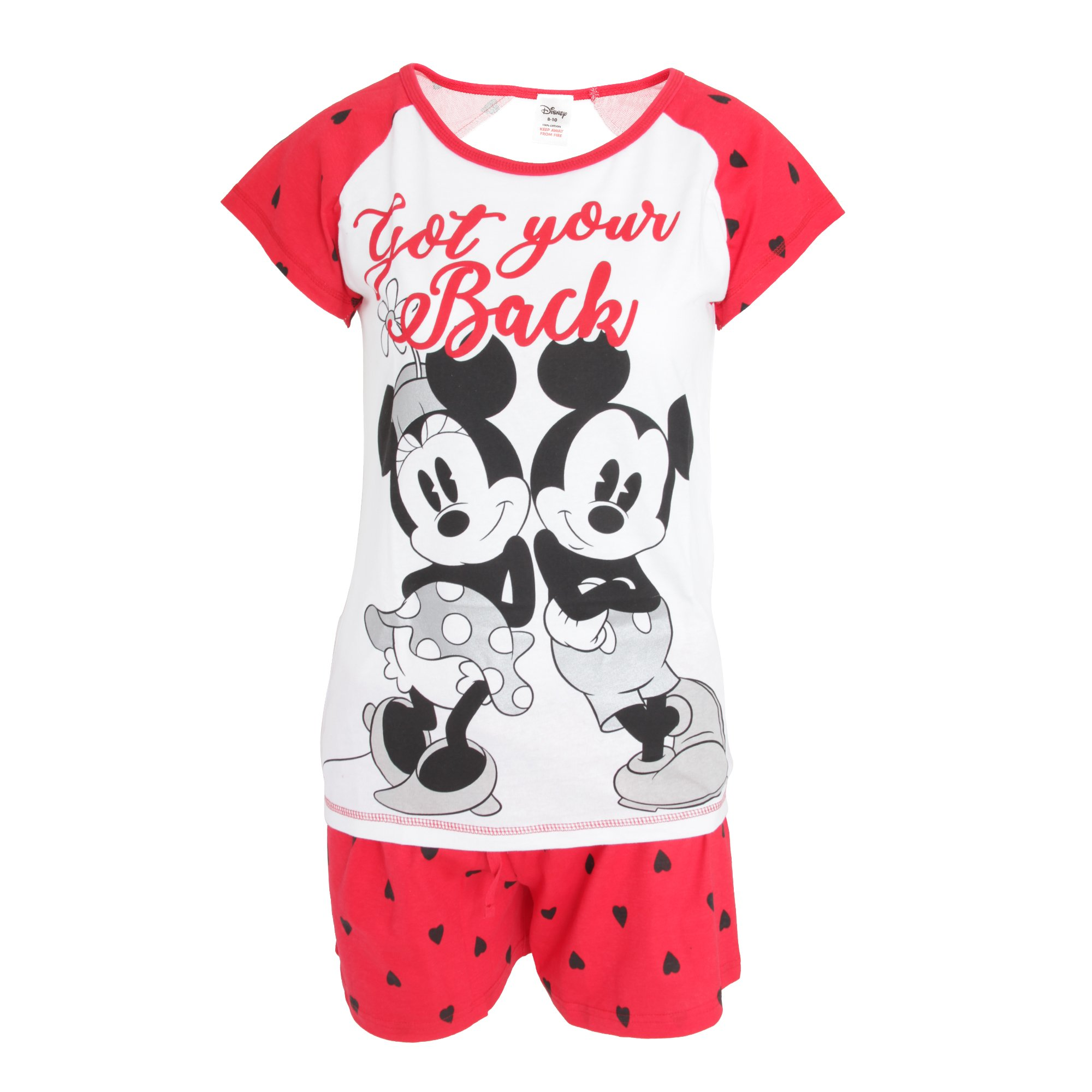 Disney Womens/Ladies Mickey and Minnie Mouse Short Pajamas (12-14 US, White/Red)