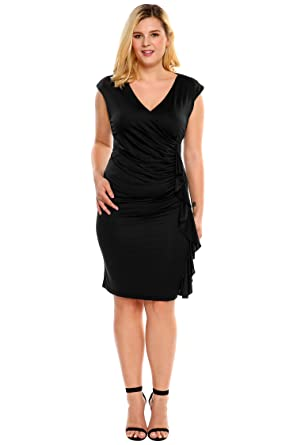 Image Unavailable. Image not available for. Color  IN VOLAND Women Plus Size  V Neck Side Ruched Wrap Ruffle Cocktail Dress b25f20881bd7