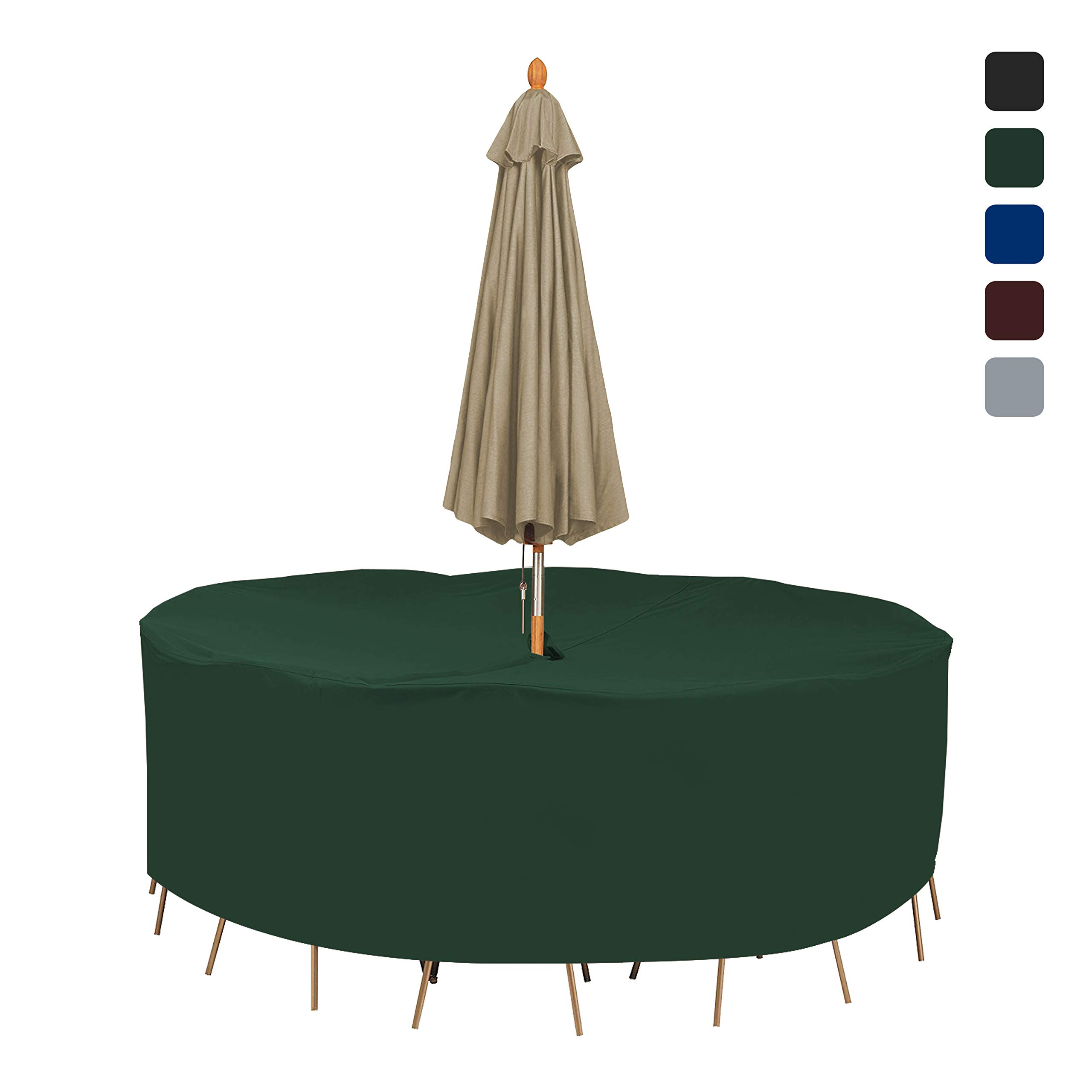 Patio Round Table & Chair Set Cover with Umbrella Hole 18 Oz Waterproof - 100% UV & Weather Resistant Outdoor Table Cover with Air Pocket and Drawstring for Snug Fit (104'' Dia x 30'' H, Green)