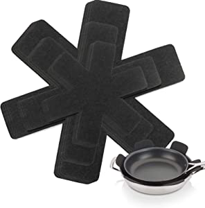 Newthinking Pot and Pan Protectors, Set of 12 and 3 Different Size, Pot Dividers Pads, Stacking Pan Protectors, Pan Separators Pads for Prevent Scratching, Separate and Protect Dishes (Black)