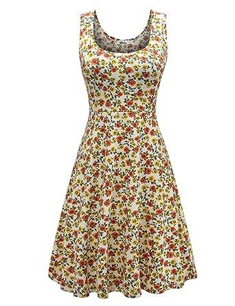 c4091cabdd04 Herou Women Sleeveless Beach Casual Flared Floral Tank Dress - - X-Large:  Amazon.co.uk: Clothing