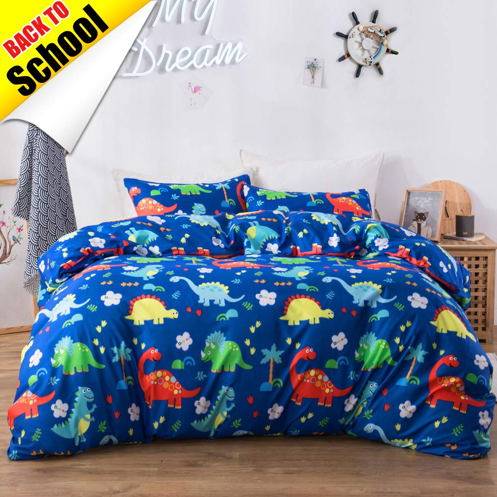 Macohome Duvet Cover Set Twin Kids Bedding Set School Comforter Cover with 1 Pillowcase and 1 Duvet Cover (Dinosaur, Twin)