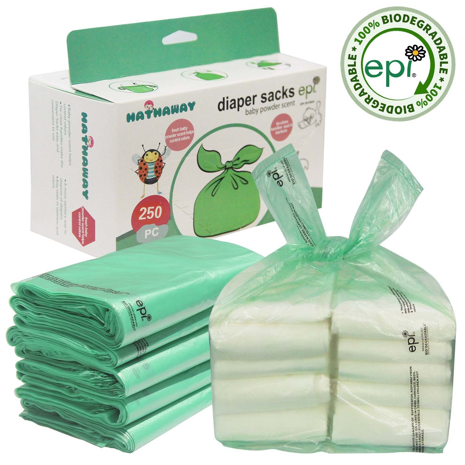 Easy-Tie Baby Disposable Diaper Sacks/Diaper Bags with Baby Powder Scent, 250 Count TOMOTO