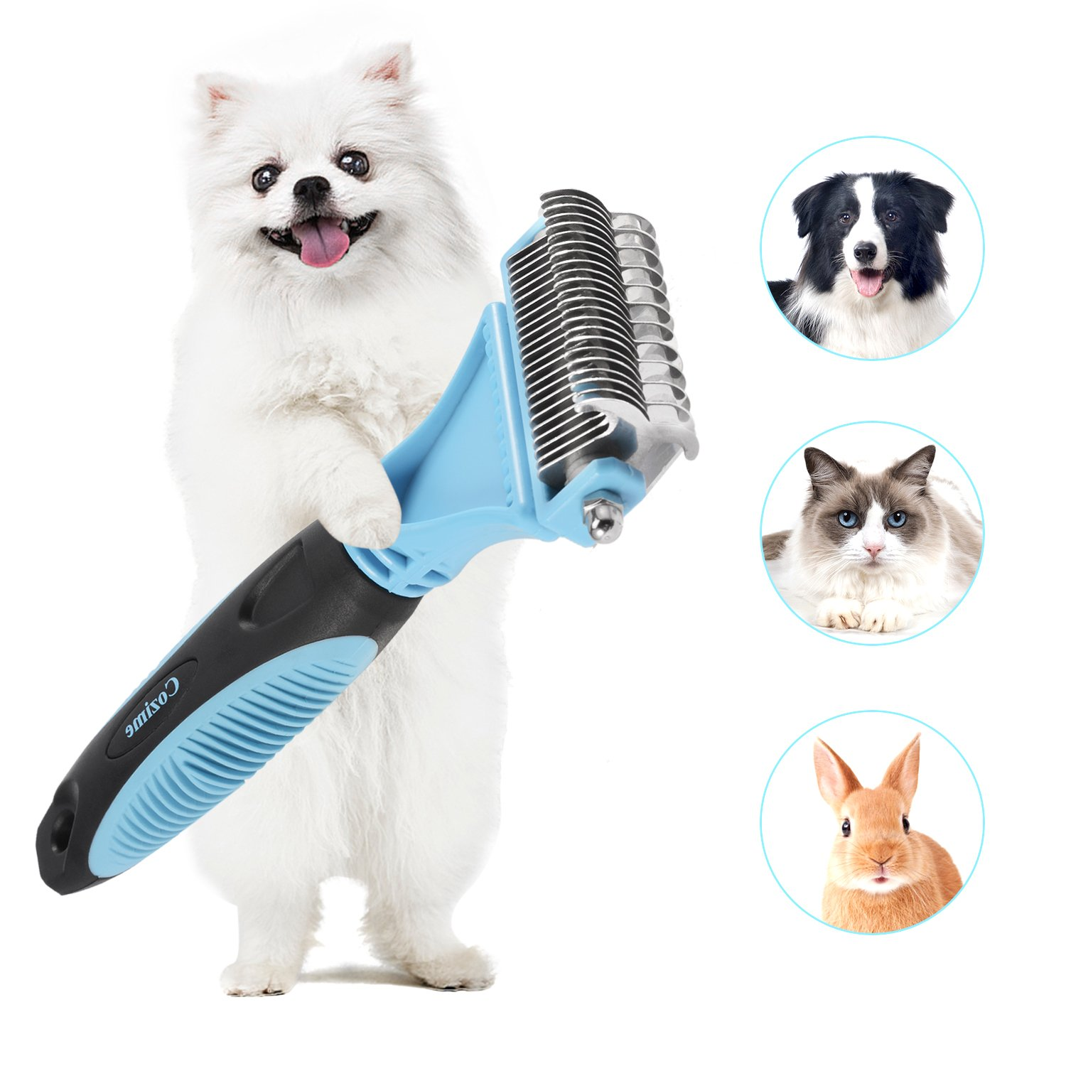Double Sided Pet Dematting Comb with 35 Blades, Dog Undercoat Rake for Removing Mats & Tangles, Pet Grooming Brush Tool for Small, Medium and Large Breed
