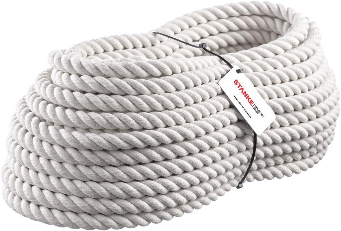 Seilwerk STANKE 10m BAUMWOLLSEIL 16mm Naturfasern handgedreht Tauwerk