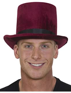 fe6d6f23 Jacobson Hat Deluxe Velvet Tall Top Hat Victorian Dickens Roaring 20s  Formal Costume Magician,Burgundy