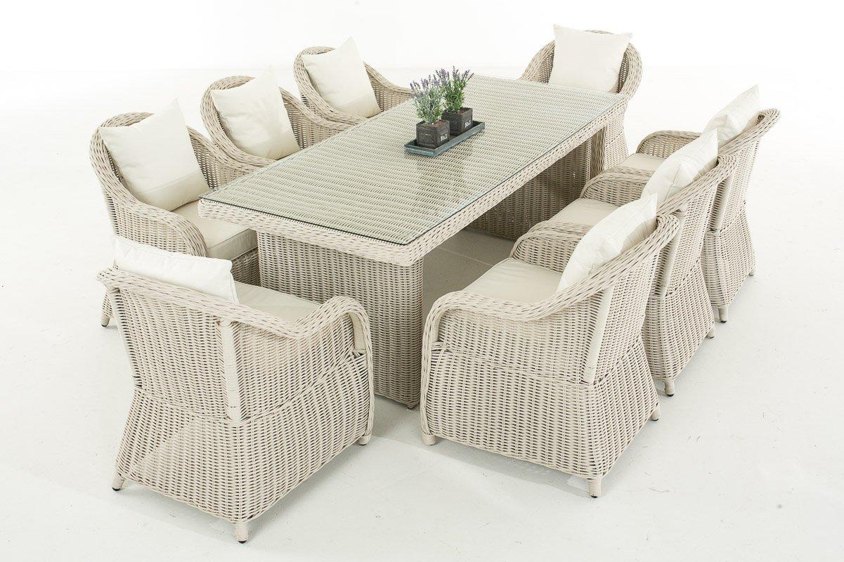 Mendler Garten-Garnitur CP071 XL, Sitzgruppe Lounge-Garnitur Poly-Rattan ~ Kissen cremeweiß, perlweiß