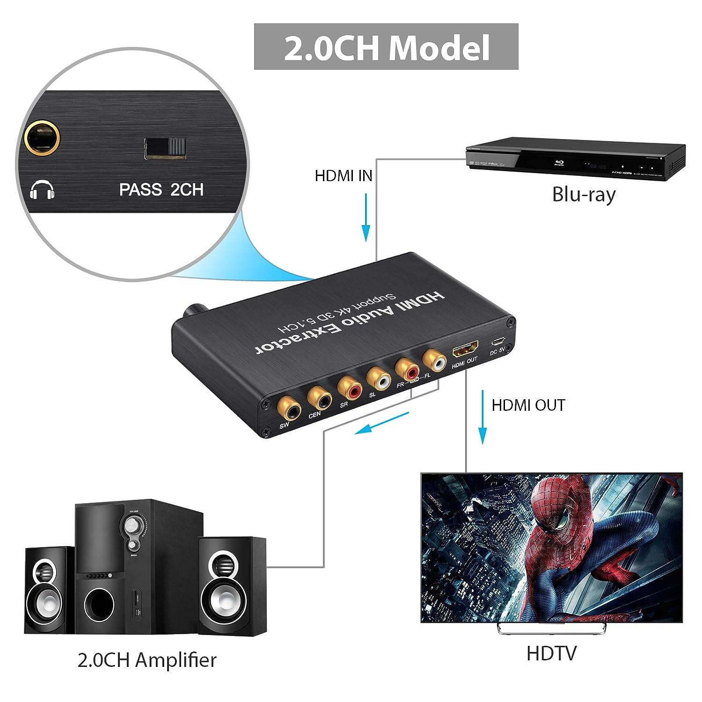 HDMI Audio Extractor 4K 5.1CH Decodificador de Audio Digital con Ajuste de Volumen Soporte Dolby AC-3 DTS HDMI a HDMI RCA 3.5mm jack para BLU-Ray DVD Xbox ...