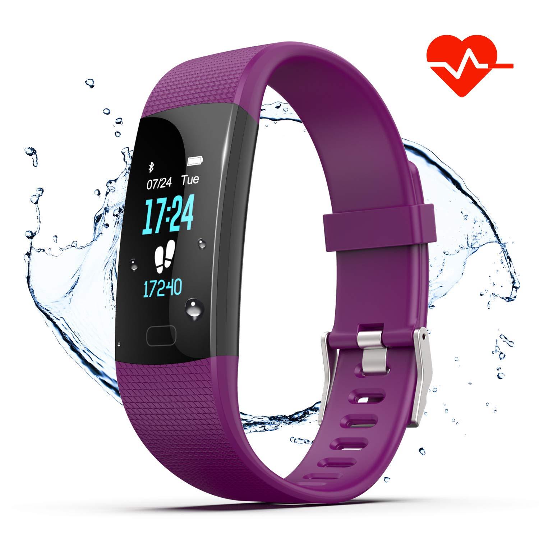 Akuti Fitness Armband HR, IP67 Wasserdichte Fitness Tracker mit Herzfrequenz/ 4 Trainingsmodi/Kalorie Strecke Schrittzähler/Schlafmonitor/ Anruf SMS Whatsapp Melden für iPhone Android Handy Lila