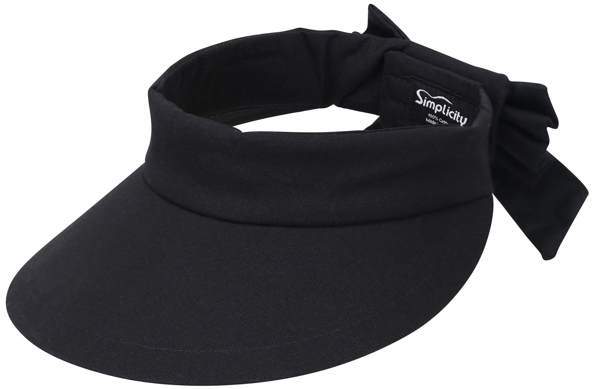 Simplicity Women's SPF 50+ UV Protection Wide Brim Beach Sun Visor Hat,Black