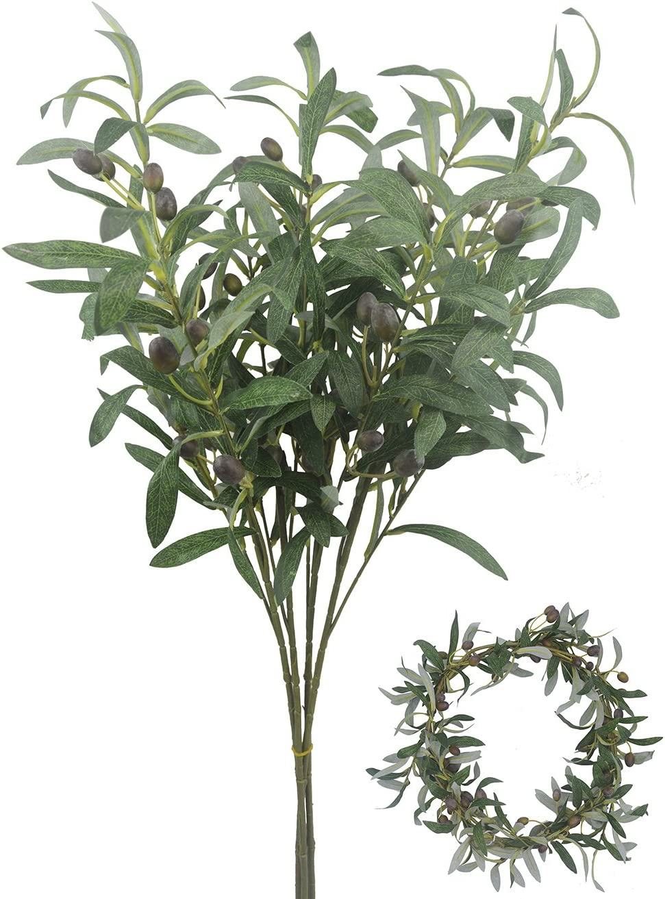 """Bird Fiy 28"""" Artificial Olive Plants Branches Fruits Branch Leaves Indoor Outside Home Garden Office Wedding Décor 4PCS"""