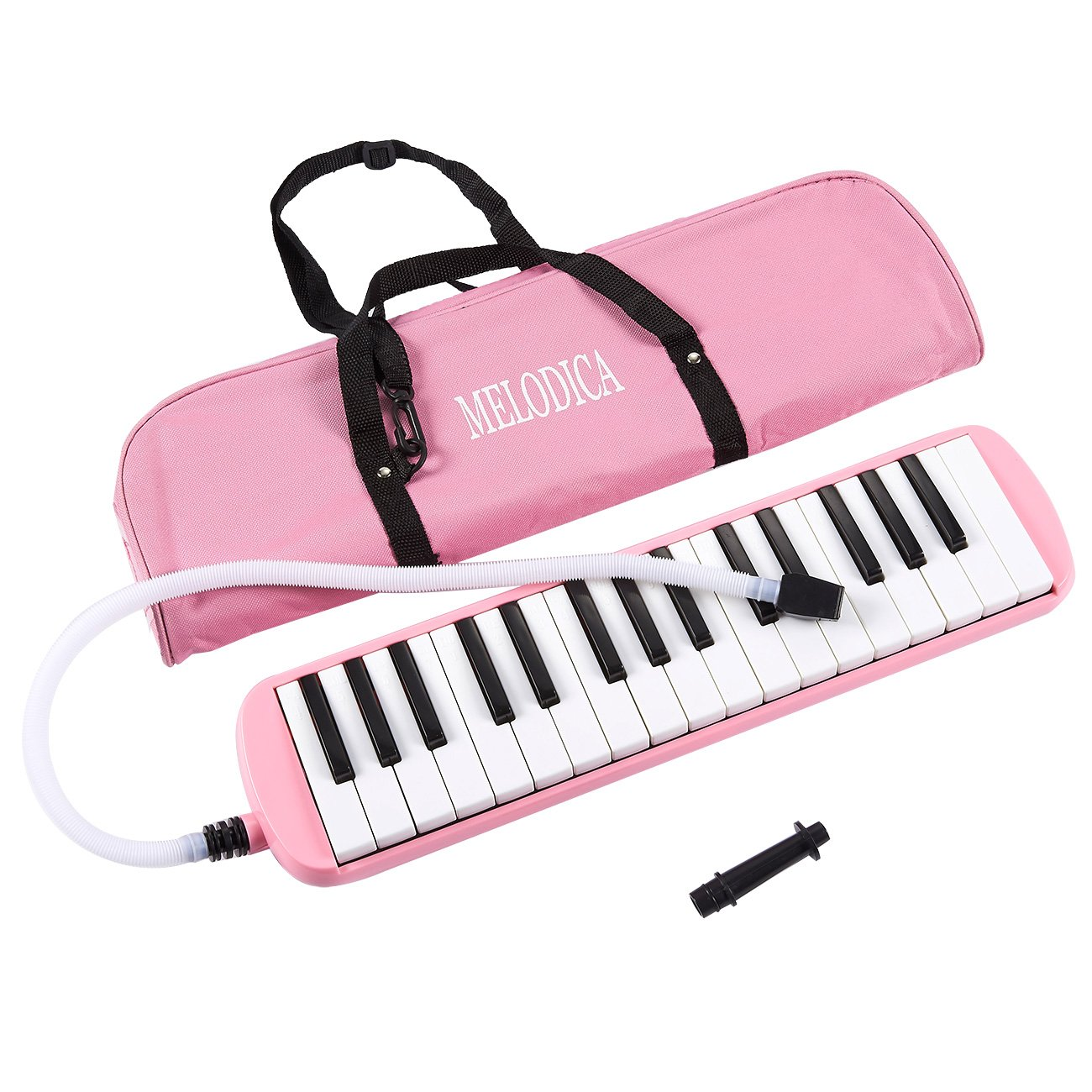 Juvale Melodica Keyboard - 32 Key Piano Style Melodion, Students Musical Instrument, Suitable Beginners Children, Includes Carrying Bag, Pink, 16.46 x 1.77 x 3.98 inches