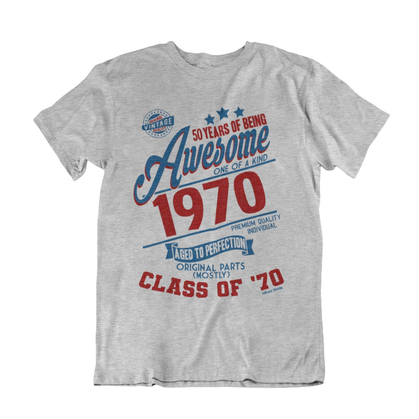Buzz Camisetas para Hombre de cumpleaños T-Shirt 50 Years of Being Awesome 1969 Aged To Perfection Class of 69