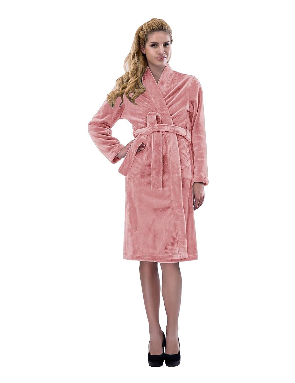 4f2a612a7c RAIKOU Women s Bathrobe Dressing Gown Sauna Coat Super Soft Fluffy Coral  Fleece  Amazon.co.uk  Clothing